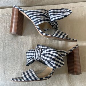 Ann Taylor Navy white plaid checked heeled slides